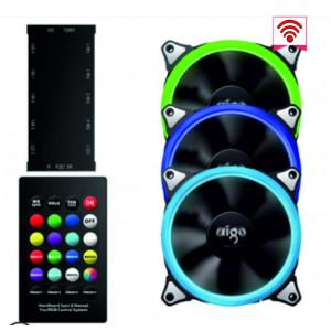 Комплект вентиляторов AIGO RGB 3 шт + пульт ДУ