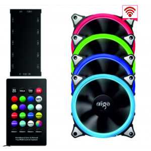Комплект вентиляторов AIGO RGB 4 шт + пульт ДУ