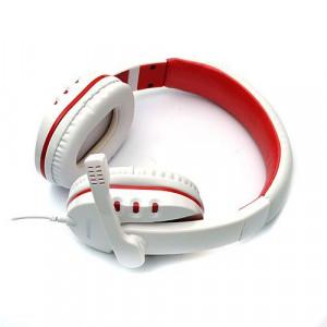 Наушники DeTech DT-790 White/Red с микрофоном