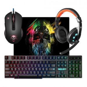 Комплект клавиатура + мышь + наушники + ковер Defender Singularity MKP-118 игровой, подсветка, USB