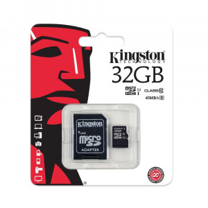 Карта памяти MicroSD Kingston 32Gb Class 10 + adapter