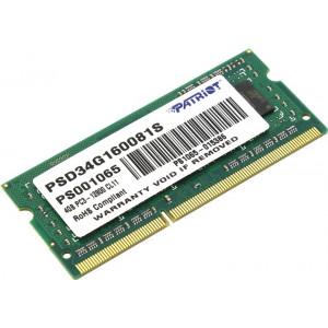Оперативная память Patriot 4GB DDR3 1600MHz SO-DIMM