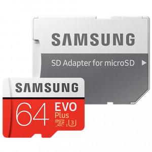 MicroSDXC 64Gb Samsung EVO Plus +adapter Class 10/UHS-I